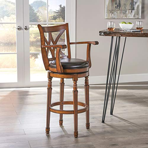 Christopher Knight Home Traditional Leather 30.5 Inch Swivel Barstool with Arms, Chocolate Brown (Stools Arms Swivel Bar Rattan)