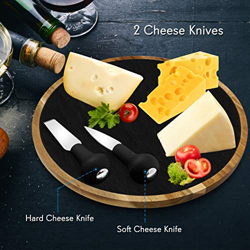 Round Slate Cheese Platter Set Lazy Susan Food Tray