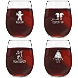 Drunk Christmas Funny Stemless Wine Glass (Set of 4) - 15 oz - Tipsy, Cheerful Holiday Party Cups- Gift Exchange Idea to Celebrate X'Mas