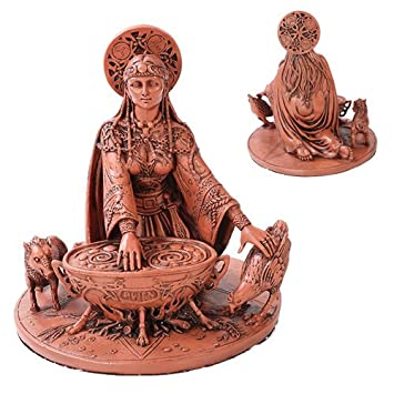 Celtic Goddess Cerridwen In Color Home Decor Statue Made of Polyresin