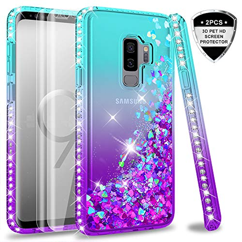 Samsung Galaxy S9 Plus Case (Not Fit S9) with 3D PET Screen Protector [2 Pack] for Girls Women, LeYi Glitter Bling Diamond Liquid Quicksand Cute Clear Phone Case for Samsung S9+ S9 Plus ZX Teal/Purple