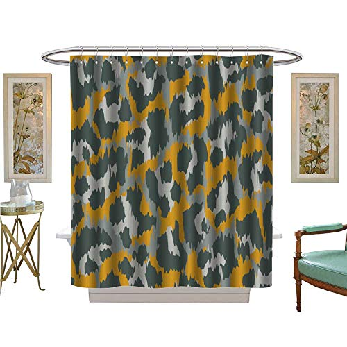 Marina Satin Shower Curtain - luvoluxhome Shower Curtains 3D Digital Printing leopardvector Print Wallpaper Background Texture Satin Fabric Sets Bathroom W72 x L72