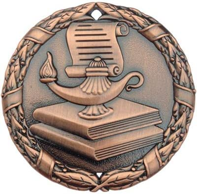 Pack of 10 Bronze Book and Lamp Scholastic Medals Trophy Champion Participant Award Prize with Neck Ribbons