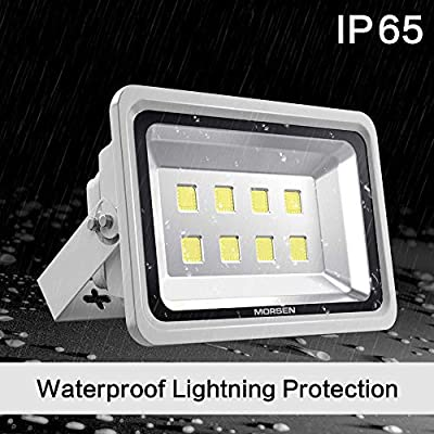 Morsen LED Flood Light 400W, IP65 Waterproof Indoor Outdoor Security Light 40000 LM 6000K Daylight Wall Light Spotlight for Parking Lot Basketball Football Court Warehouse Commercial Lighting