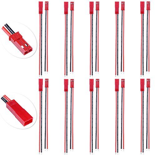 Cable Miniature Pin - 10 Pairs HobbyPark Flexible 2 Pin 100mm JST Connector Plug Male & Famale with 22AWG Silicone Wire Cable for RC Hobby Model Toys LED Lamp Strip Battery Pack
