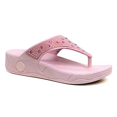 26b60161da4a7 Ladies Dunlop Low Wedge Fit Flip Flop Toe Post Crystal Sandals Shoes Size 3- 8