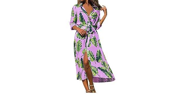 SMILEQ Vestido de Mujer Boho Fashion Leaves Falda Estampada Turn ...