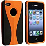 niceEshop Snap-on Rubber Coated Case compatible with Apple® iPhone® 4 - AT&T / Verizon, Orange / Black Cup Shape.