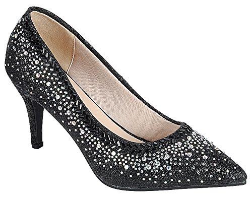 Toe Glitter Pointed Mid Women's Crystal Cambridge Stiletto Pump Black Select Rhinestone Heel qZytSwII6x