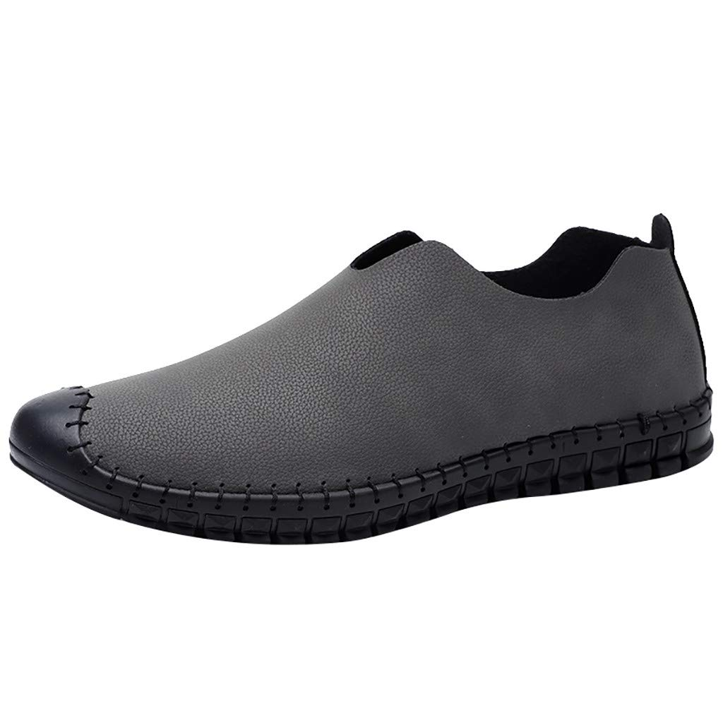 Corriee Mens Leisure Shoes Round Toe Non-Slip Comfortable Flat Shoe Men Travel Footwear Gray