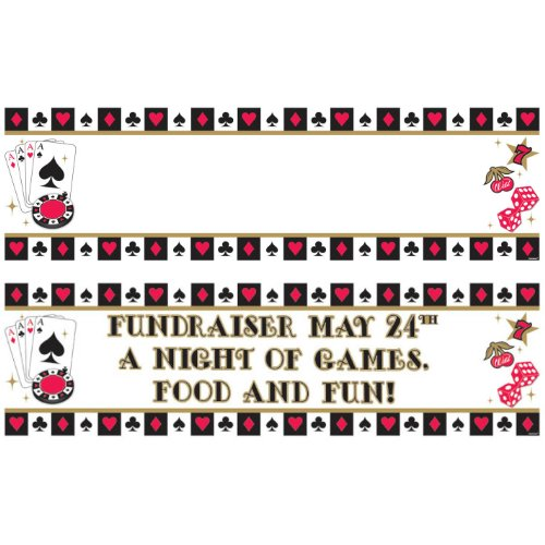 Amscan Fun Casino Personalize It! Giant Party Sign Banner, 121 Pieces, Made from Plastic, Any, 65