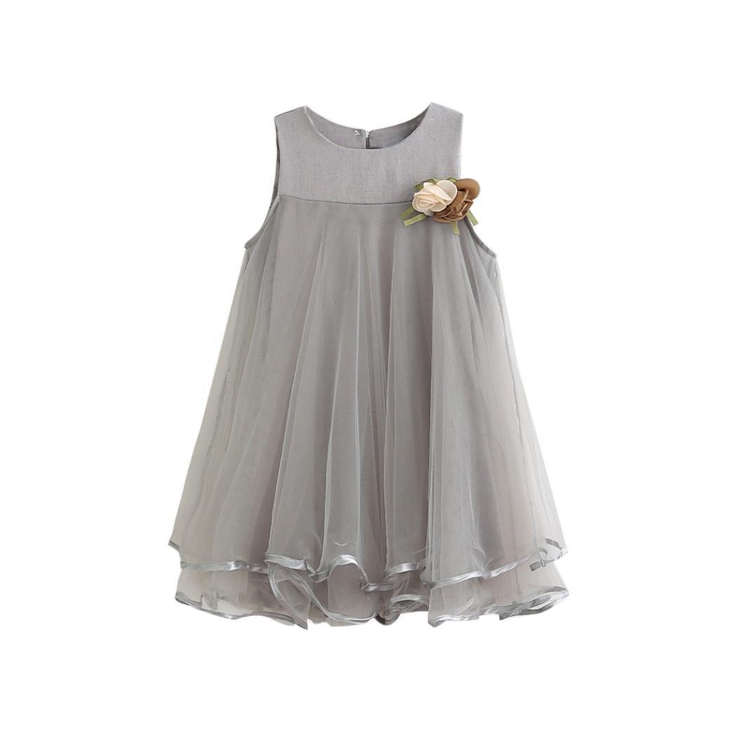 Lurryly 2018 Baby Girl Summer Toddler Girls Chiffon Sleeveless Drape Dress + Brooch Princess Party Dresses (Size:3T,Label Size:100, Gray)