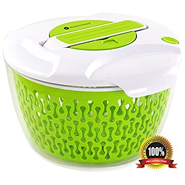 Maestoware® Salad Spinner Large 6.8 Quart - Dry Off & Drain Lettuce and Vegetable With Ease for Tastier Salads and Faster Food Prep – Easy to Use Professional Quality