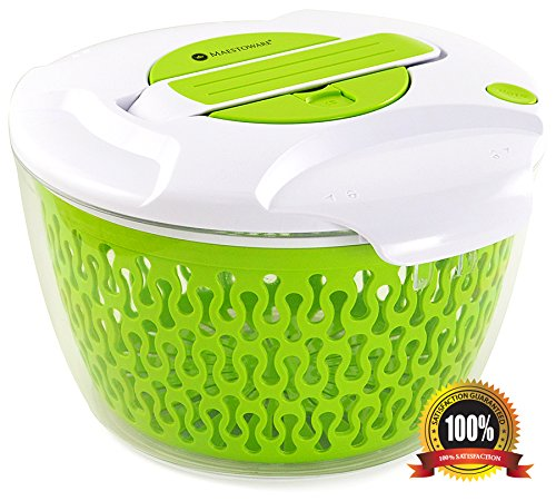 Maestoware¨ Salad Spinner Large 6.8 Quart - Dry Off & Drain Lettuce and Vegetable With Ease for Tastier Salads