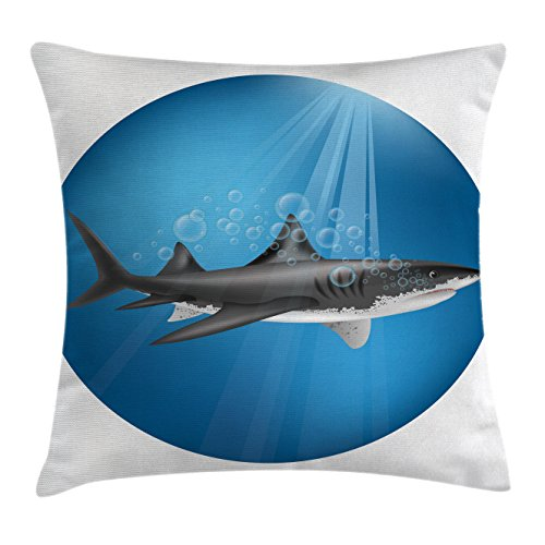 Shark Throw Pillow Cushion Cover by Ambesonne, Shark in Sea with Sun Rays in Circle Aquatic Underwater Creature Predator Adventure, Decorative Square Accent Pillow Case, 26 X 26 Inches, Blue Grey