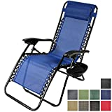 Sunnydaze Navy Blue Zero Gravity Lounge Chair with Pillow and Cup Holder