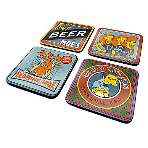Genuine The Simpsons Moe's Tavern Set of 4 Coaster Drinks Mat Duff Beer Bar]()