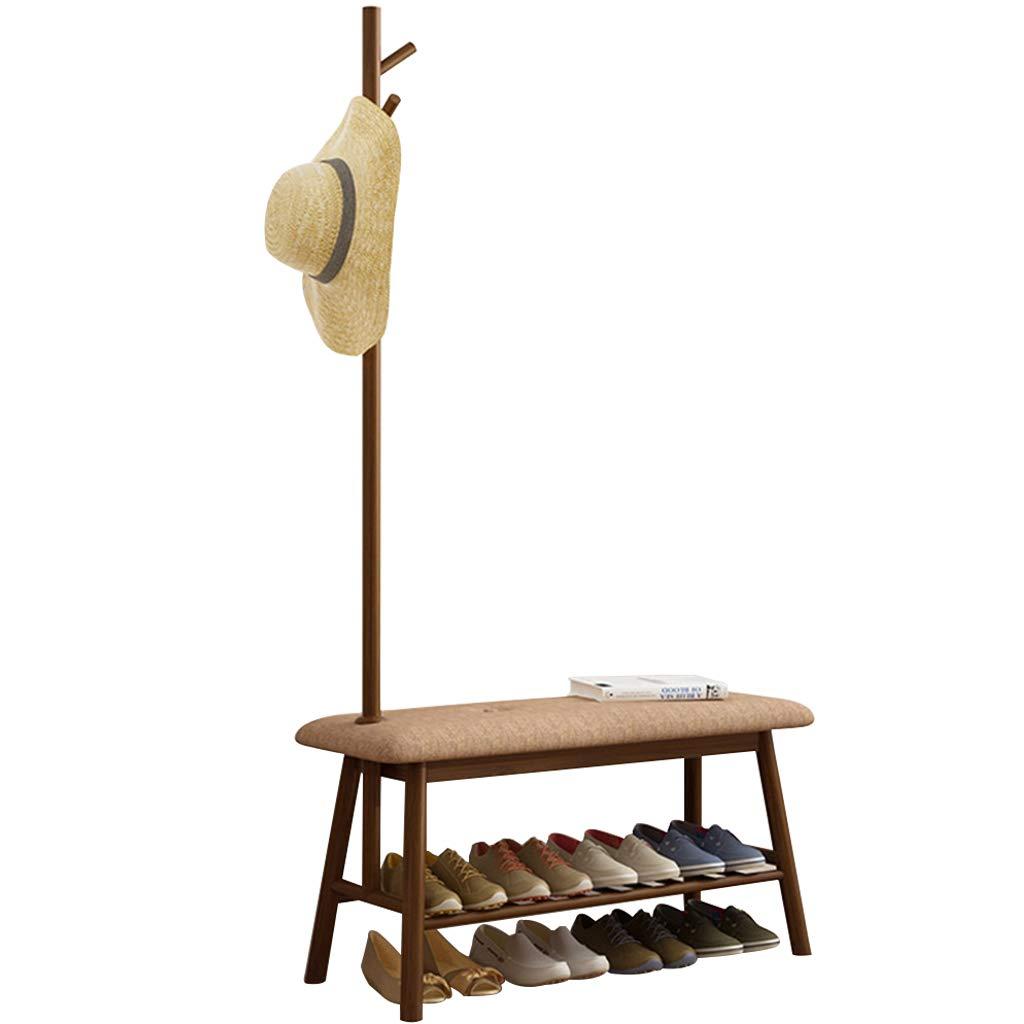 ZHEN GUO Entryway Shoe Bench with Coat Rack, Modern Bamboo Shoe Rack Organizer with Hall Tree Coat and hat Hanger Over The Door Color Brown