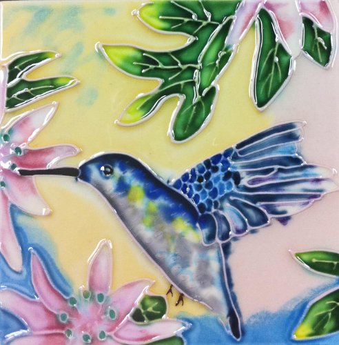 Ceramic Art - Continental Art Center SD-067 4 by 4-Inch Hummingbird No.3 Ceramic Art Tile