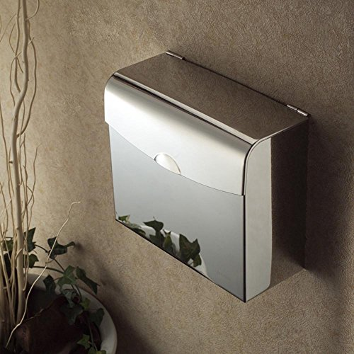 SSBY Stainless steel square tissue box, rectangular Towel rack, chrome light paper holder, waterproof and does not rust