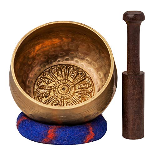 Tibetan Singing Bowl Set with Healing Mantra Engravings - Meditation Sound Bowl Handcrafted in Nepal