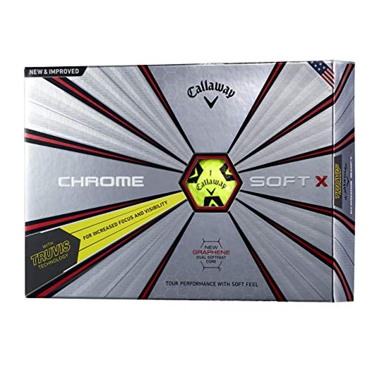[해외] CALLAWAY(캘러웨이) 골프 볼 CHROME SOFT X TRUVIS 1다스(12개 들이) 2018년 모델 옐로우 블랙