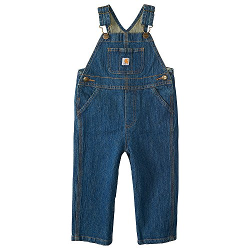 Carhartt Kid's CM8665 Washed Denim Bib Overall - Boys - 2 Toddler - Medium Wash ()