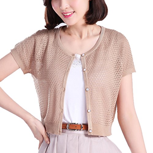 Thgonwid Womens Short Sleeve Crochet Shrug Button Down Bolero Cropped Cardigan ()