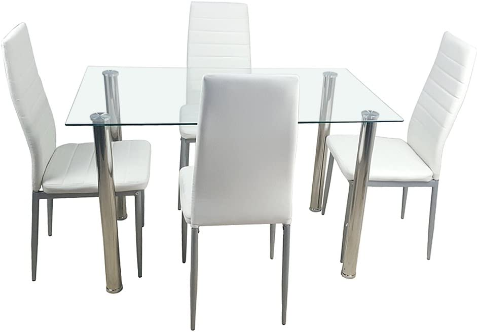 Kitchen Dining Table Set,5 Pieces Modern Dining Room Table Set w/ Tempered Glass Top & 4 High Back Leather Chairs Dinette Set for 4,Sturdy Metal Frame Kitchen Breakfast Furniture Counter Height,White