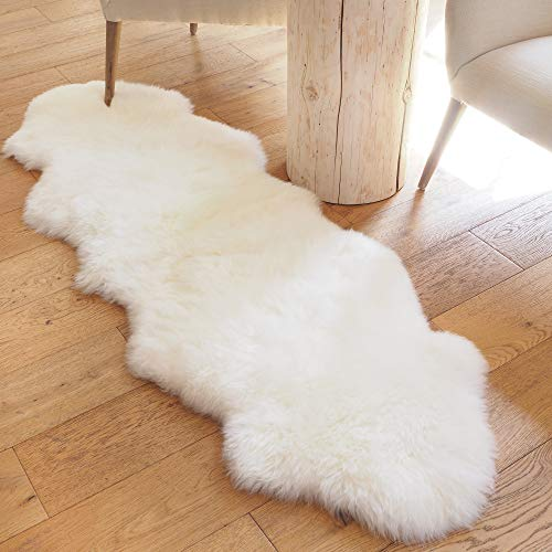 Large Sheepskin Rug Double Pelt - Real Sheep Fur Area Rug 2x6 by A-STAR (TM) (Natural White)