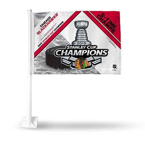 """NHL 2015 Stanley Cup Champion Car Flag, 19"""", White"""