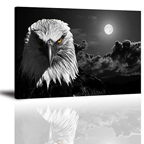 Canvas Wall Art for Living Room, Fierce Cool Bald Eagle at Moon Night Picture, Awesome Black and White Prints Decor Artwork (Waterproof, Bracket Fixed Ready Hanging, 1