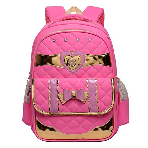 Quilted Bow - Moonwind Princess Quilted Bow Kids School Backpack for Girls Book Bag Schoolbag (D6604#, D6604# Light Pink)