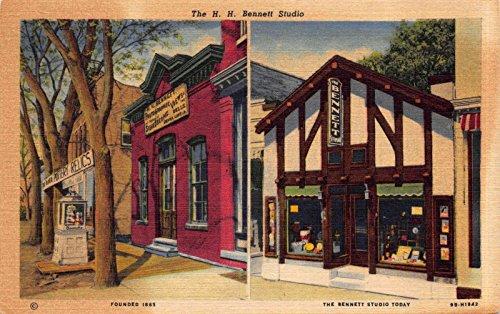 Linen Postcard H.H. Bennett Photo Studio in Wisconsin Dells, ()
