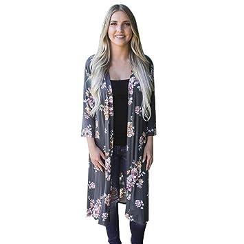 ❤️ Amlaiworld Cárdigan Largo Mujer Impresión Bohemia Kimono Cardigan Abrigo de Playa Tops Oversized Chales Wraps Outerwear Chaqueta de Mujeres Verano ...