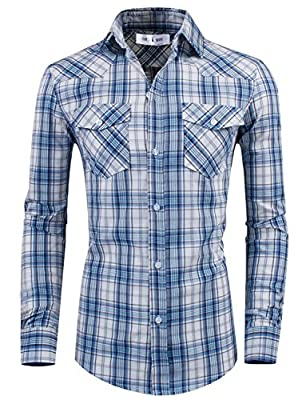 TAM WARE Men's Stylish Slim Fit Cotton Plaid Pocket Long Sleeve Dress Shirt