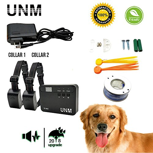 UNM [2018 Updated Dogs Electric Fence Underground Wire Dog Containment Kits with Option for Remote Trainer Rich Transmitter - Waterproof Rechargeable Collar For 2 Dogs with Tone/Vibration and Shock,