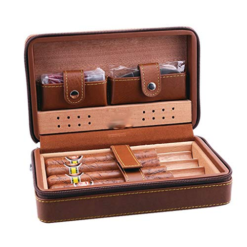 $98.08 electric cigar humidor WMM- Cigar box Premium Cigar Humidors/Zipper Lock Closure Cigar Humidor, Cigar Case, Cedar Wood Travel Portable Leather Cigar Humidor with Humidifier (Color : Brown) 2019