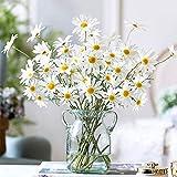 AmyHomie Artificial Flowers,10 pcs Silk Daisy, Artificial Gerber Daisy for Home Decoration, Artificial Daisy for Wedding Decoration(Milk White)