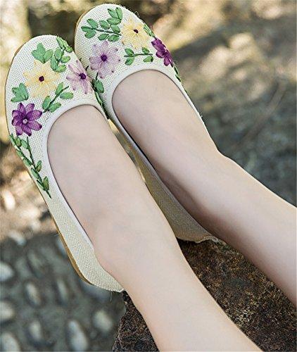 Zapatos Bordados Hechos A Mano De Satuki Para Las Mujeres, Deslizador Deslizador Floral Plano Ocasional Del Holgazán Blanco