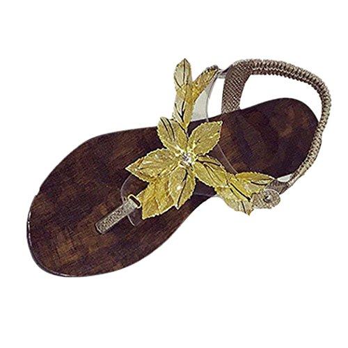 DDLBiz Women Fashion Bohemian Flower Flat Sandals Beach Shoes Casual Shoe (US:7, Gold)