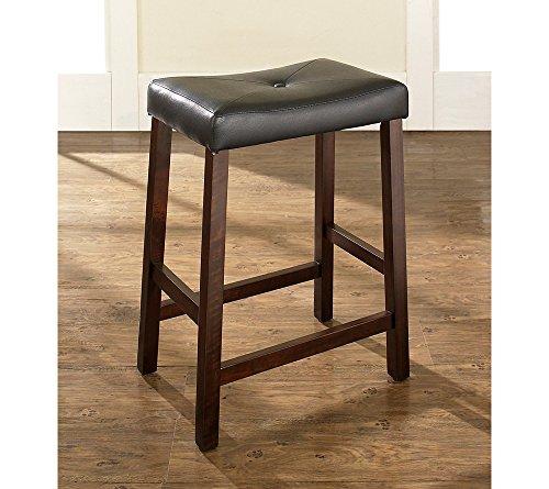 Crosley Furniture Set of Two Upholstered Saddle Seat Bar Stools Mahogany - Saddle Hardwood Seat Stool