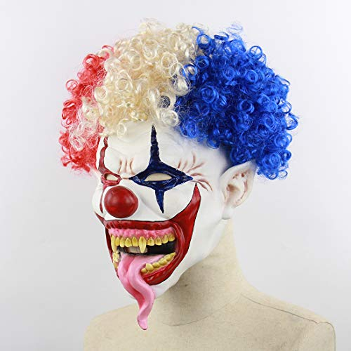 2018 Scary Halloween Mask,Realistic Clown Halloween Face Masks with Hair for Adults and Man,Halloween Masquerade Cosplay Costume Mask. (French Clown)
