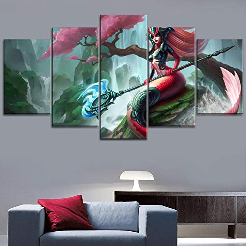 Legends Furniture Contemporary Light - sansiwu 5 Piece Game League of Legends Nami Poster Modern Canvas Printing Type Style Home Decorative Wall Artwork Modular Pictures(Frameless)