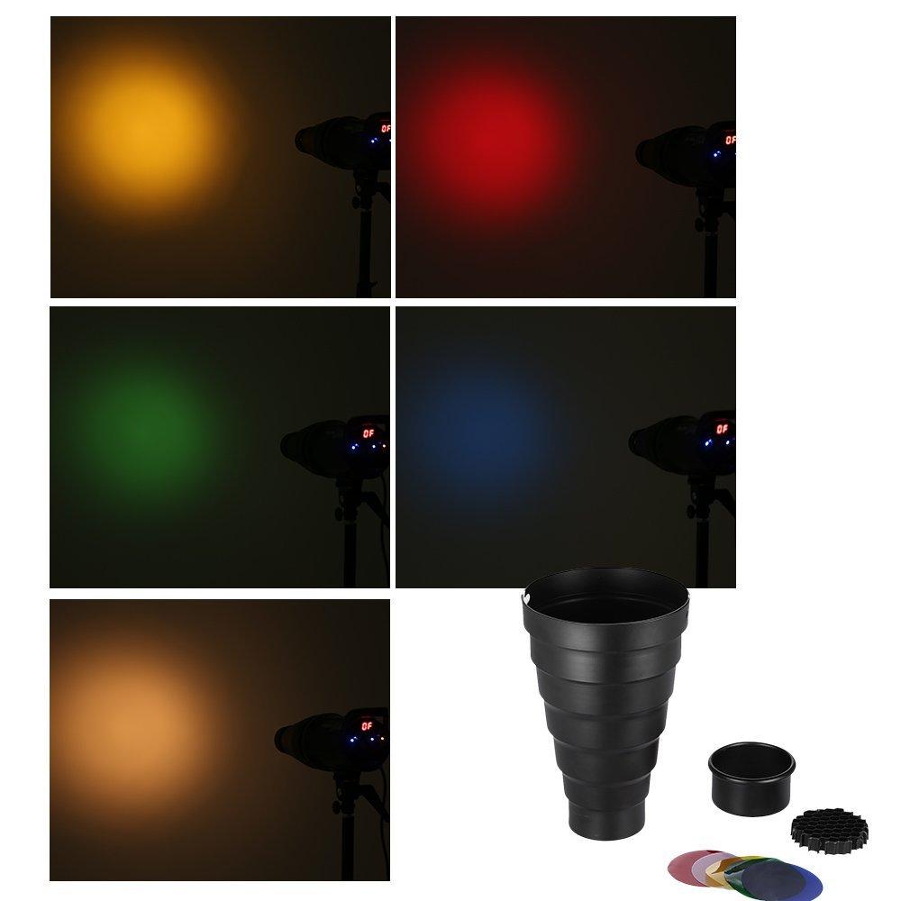Andoer Snoot with Honeycomb Grid 5pcs Color Filter Kit for Elinchrom //Impact EX//Calumet Genesis// Interfit EX Flash Strobe