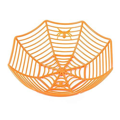 Hot Sale!DEESEE(TM)Spider Web Fruits Candy Plastic Basket Spiderweb Halloween Party Decor Kitchen (Orange)