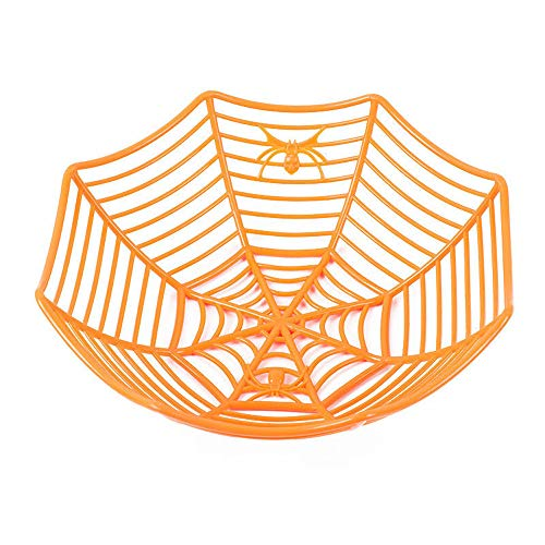 Clearance Sale!UMFun Spider Web Fruits Candy Plastic Basket Spiderweb Halloween Party Decor Kitchen 29x8 cm (Orange) -