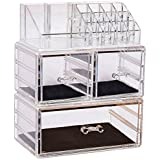 Sooyee Stackable Makeup Organizer 3 Deep Acrylic Cosmetics Storage Drawers and 16 Grid Lipstick Holder ,Clear, Jewelry Display Boxes Case ,3 Pieces Set(9.44x5.35x11.62 inch)