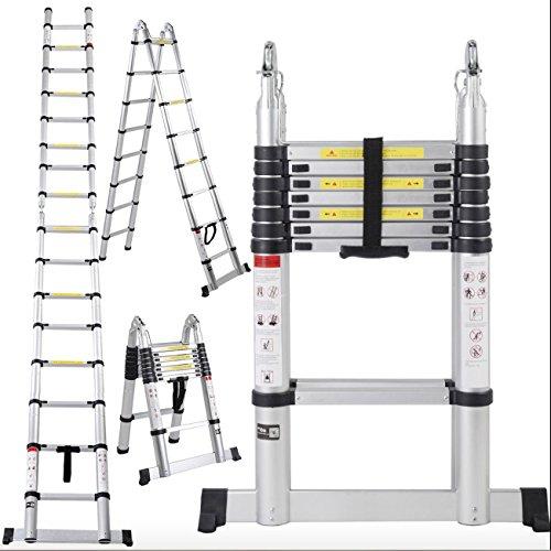 ALightUp Multi Purpose 16.5ft Aluminum Telescoping Ladder, Extendable Telescoping Ladder, Non-slip Ribbing 330 Pound Capacity (Ft 16 Ladder Step)