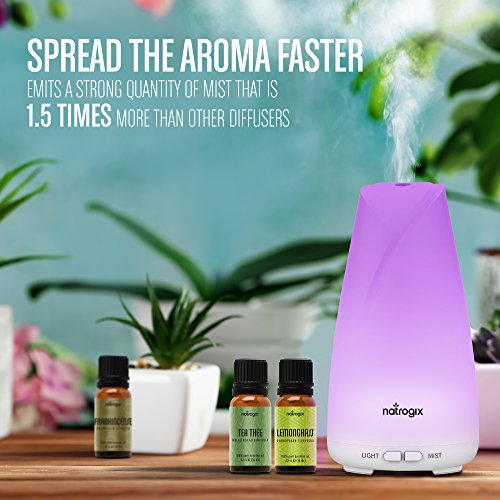 Essential Oil Diffuser 150ml by Natrogix Totem - Cool Mist Aroma Humidifier for Aromatherapy 7 Colors with Changing Colored LED Lights, Waterless Auto Shut-off and Adjustable Mist Mode w/ Free E-Book by Natrogix (Image #5)
